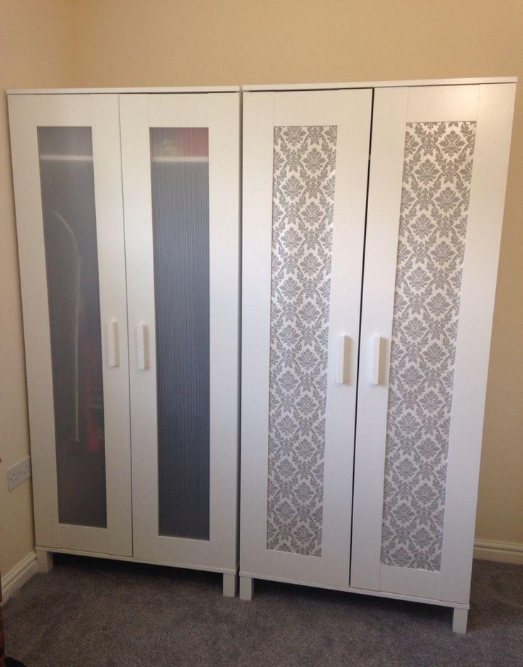 Modern Ikea hack: aneboda wardrobe (£39) + wallpaper sample (free) - ikea aneboda wardrobe armoire white