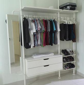 Modern Ikea Stolmen open concept wardrobe system - moving overseas. open wardrobe system