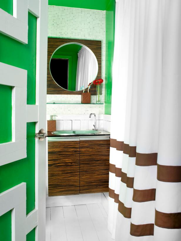 Modern Kelly Green Bathroom With Contemporary Wood Vanity paint colors for bathrooms