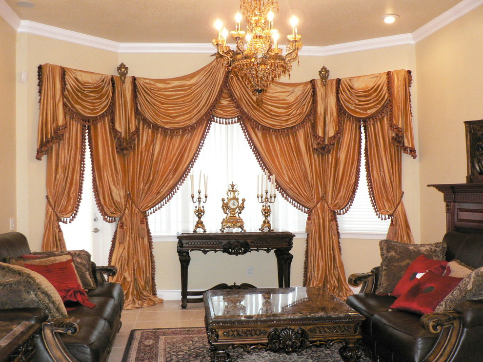 Modern Luxury Window Treatments Living Room with Beige Bright Candles Ceramic custom made window treatments