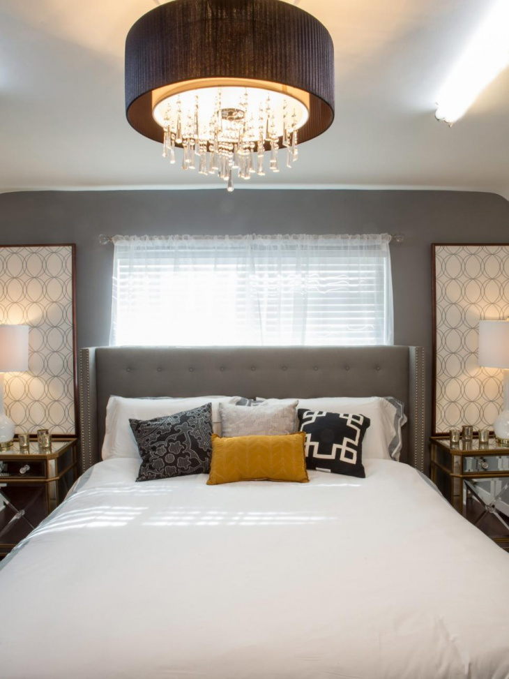 Modern Midcentury Modern Bedroom With Circular Drum Ceiling Light master bedroom ceiling lights