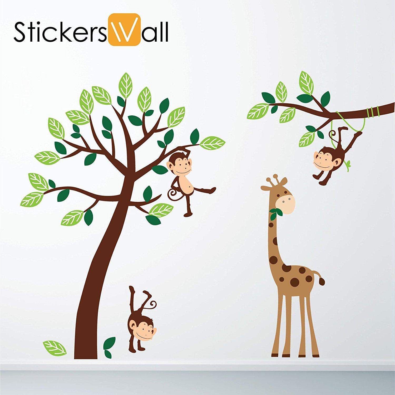 Modern Monkey Giraffe Tree Nursery Jungle Wall Stickers: Amazon.co.uk: Kitchen u0026  Home jungle wall stickers