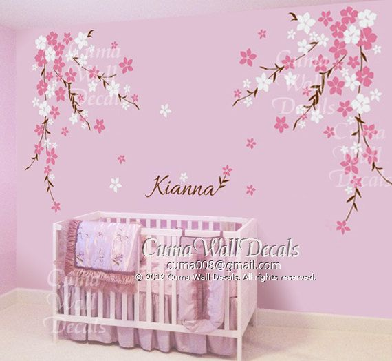 Modern Nursery wall decal baby girl and name wall decals flowers by cuma, $89.00 baby girl room wall decor
