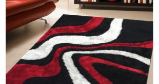 Modern Rug Addiction Hand-tufted Polyester Red and Black Shag Area Rug . red black and white area rugs