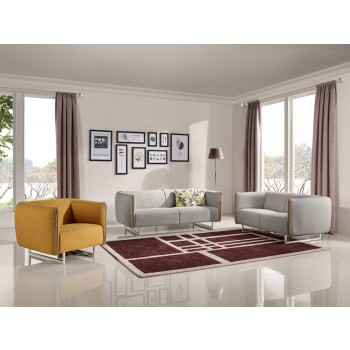 Stylish Divani Casa Medora Modern Grey u0026 Yellow Fabric Sofa Set modern sofa sets