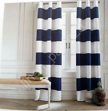 Modern Tommy Hilfiger CABANA STRIPE Navy Blue White Window Curtain Panel 96 navy blue and white striped curtains