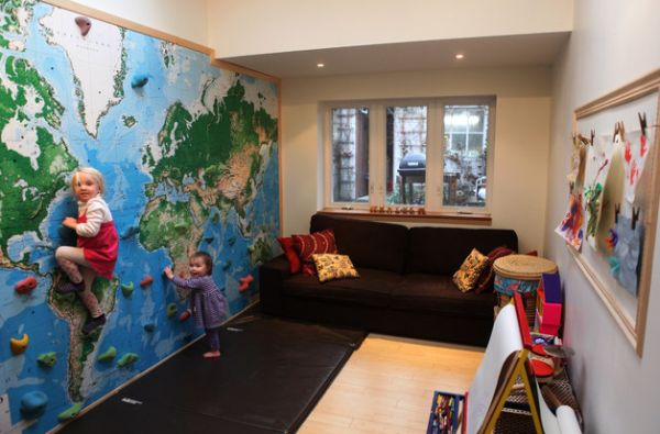 Modern View in gallery A climbing wall with right protection is a great kids playroom ideas