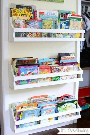 Modern We own too many books for something like this, but wall mounted bookshelves for kids