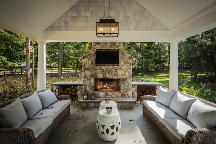 Modern Z Plus Architects - decks/patios - covered patio, carriage lantern, outdoor  fireplace covered patio with fireplace