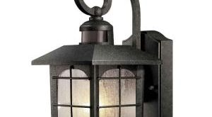 Compact Home Decorators Collection Brimfield 180-Degree 1-Light Aged Iron Motion-Sensing  Outdoor Wall motion sensor porch light