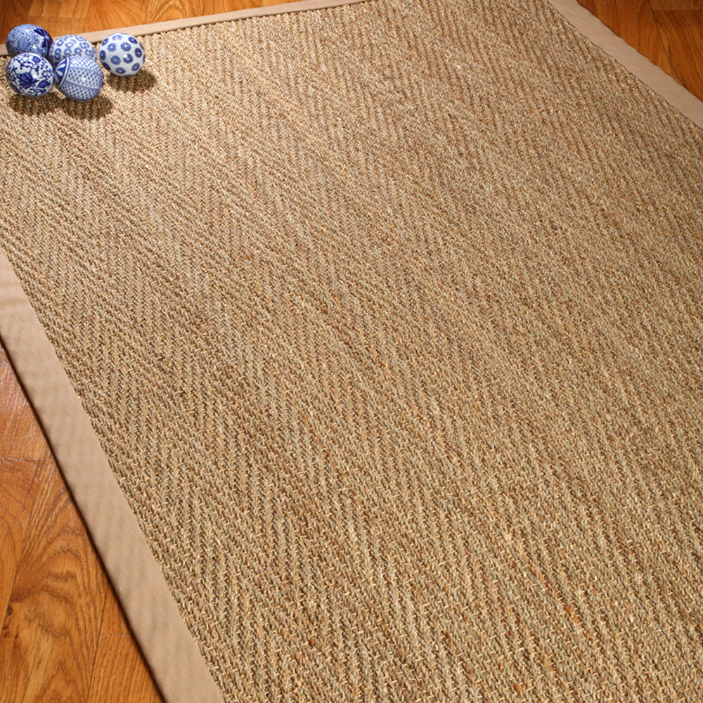 Cozy Natural Area Rugs Seagrass Hand-Woven Sage/Khaki Area Rug natural area rugs