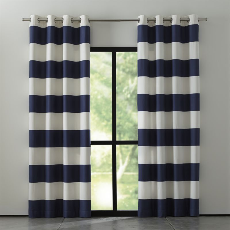 Stunning Alston Blue and White Striped Curtains | Crate and Barrel navy and white striped curtains