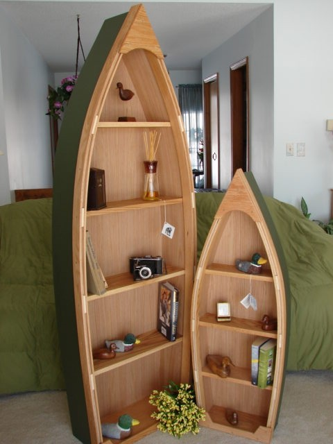 New 6 Foot Handcrafted Wood Row Boat Bookshelf Bookcase shelve boat shelf bookcase