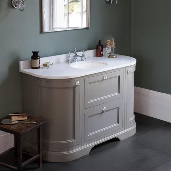 New Burlington Olive 1340mm Curved Freestanding Vanity Unit with Door Drawers  Worktop Basin. freestanding vanity unit