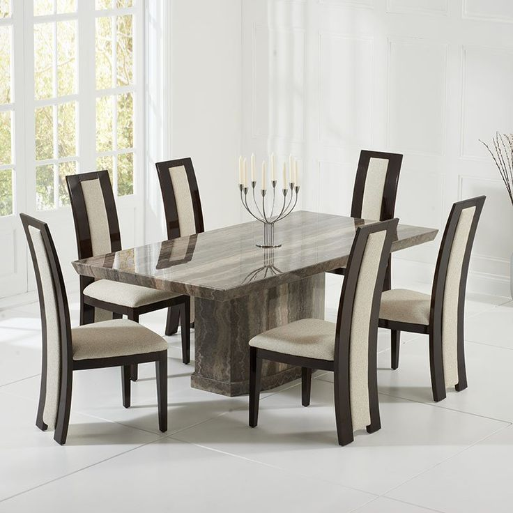 New Como Brown Constituted Marble Dining Table Set (6 Rivilino Chairs) marble dining table set