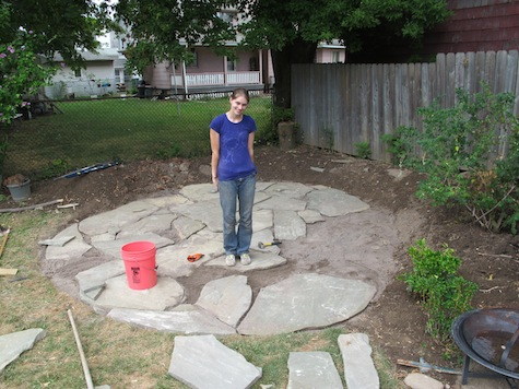 New DIY Flagstone patio--good tips for laying crusher and sand diy patio stones