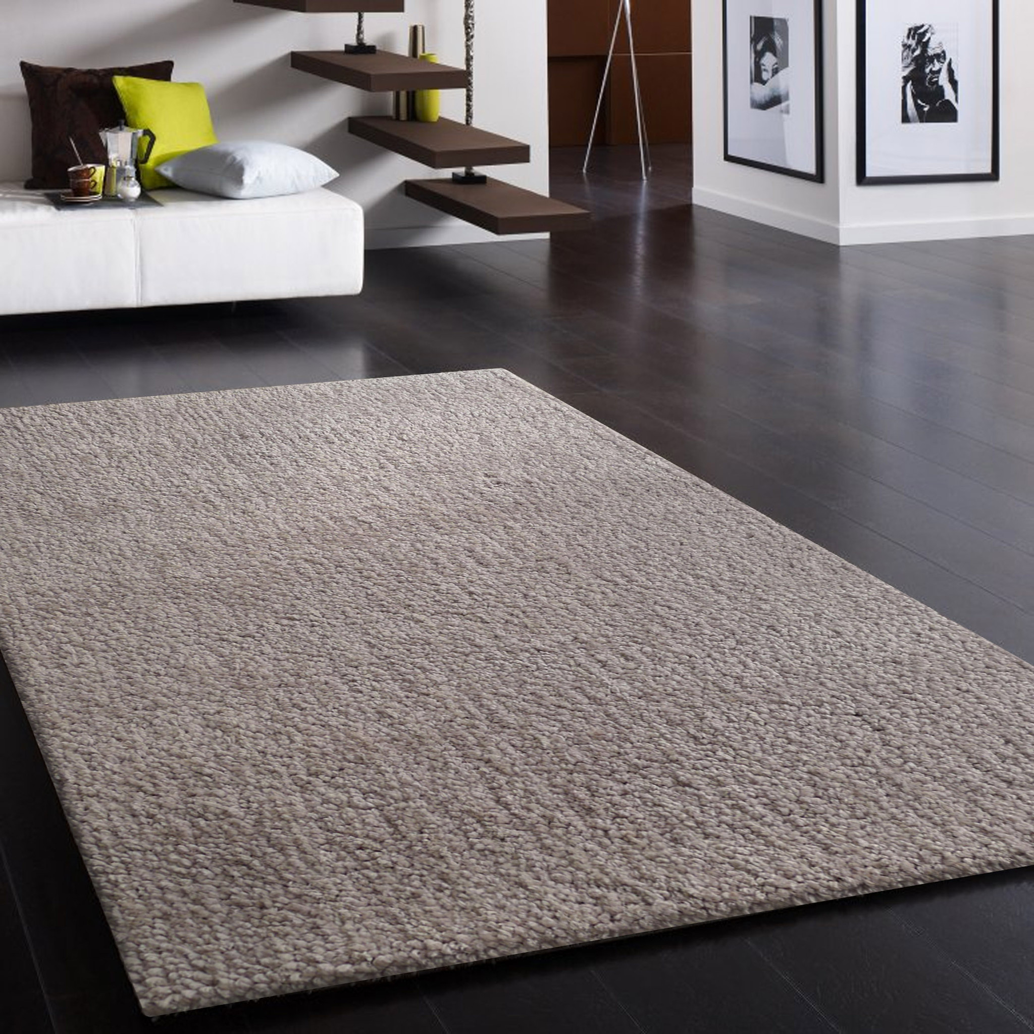 New Hand-tufted Solid Silver Thick Plush Shag Area Rug 5u0027 x 7u0027 ft . thick plush area rugs