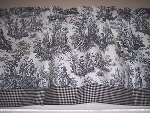 New Image is loading BLACK-ON-WHITE-WAVERLY-Rustic-Toile-W-Gingham- waverly toile curtains