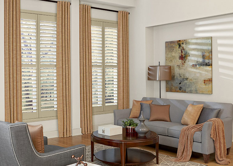 New Layered Wood Shutters With Drapes wooden shutter blinds