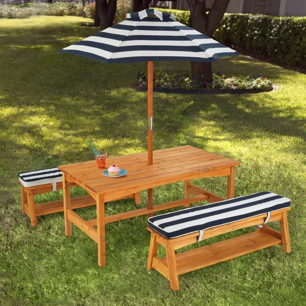 New Outdoor Table u0026 Bench Set With Cushions u0026 Umbrella. Kids Outdoor  FurnitureKids kids outdoor furniture table and chairs