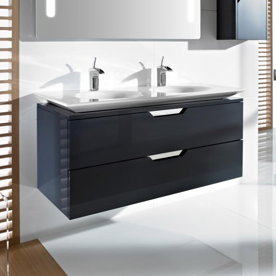 New Roca - Kalahari-N 2 Drawer Vanity Unit with W1200mm Double Basin - 3 roca bathroom vanity units