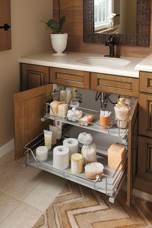 New The unique U-shape of this sink base cabinet slide-out fits around plumbing bathroom vanity organizers