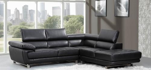 New Valencia Corner Midnight Black H8582RHF black leather corner sofa