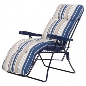 Elegant Padded Garden Reclining Chair, Blue Stripe padded reclining garden chairs
