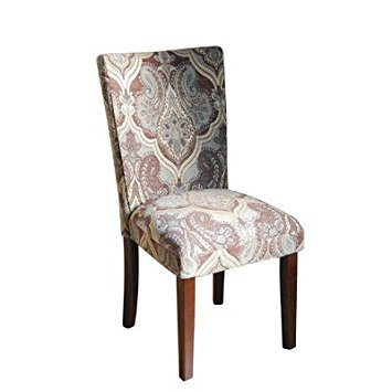 Elegant Parsons Chair (set of 2) Pattern: Blue u0026 Brown Paisley patterned parsons chairs