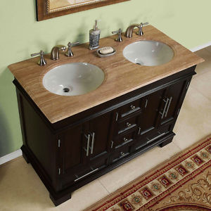 Photos of 48-inch Compact Double Sink Travertine Stone Top Bathroom Vanity Cabinet  0224TR 48 double sink vanity