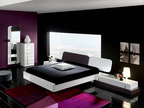 Photos of Black u0026 White Bed with Purple Surroundings black and white bedrooms with a splash of color
