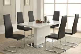 Photos of Coaster Modern Dining 7 Piece White Table u0026 White Upholstered Chairs Set - modern dining room furniture sets