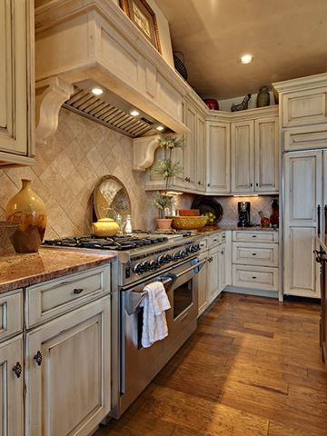 Photos of distressed white kitchen cabinets - for Paige...looks great with the marble rustic white kitchen cabinets