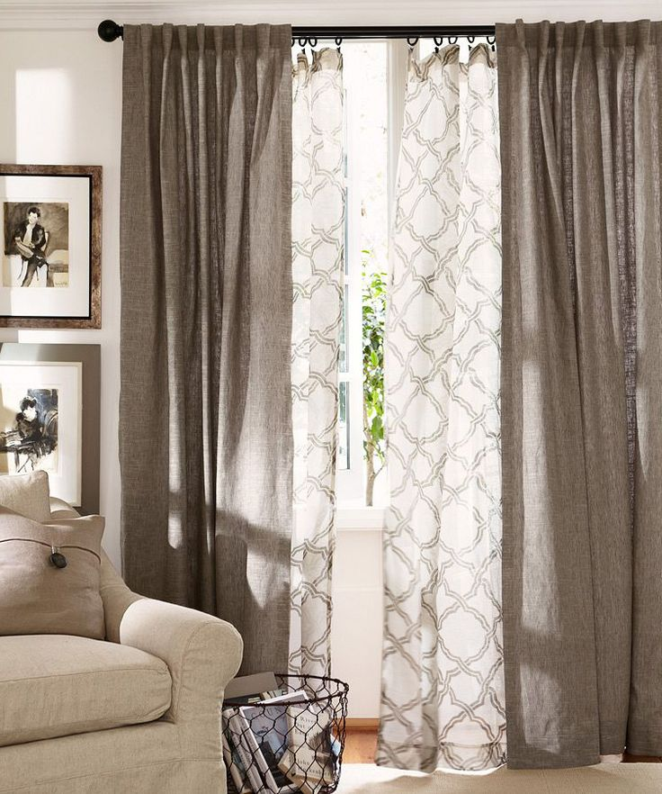 Photos of Layer curtains in the living room. Love this pattern and curtain design ideas for living room