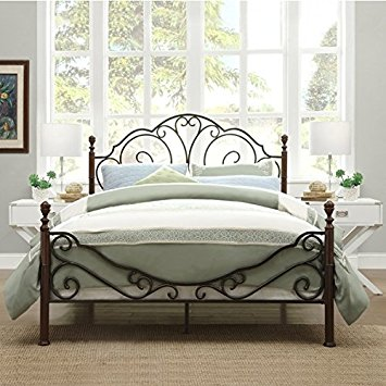 Photos of LeAnn Graceful Scroll Bronze Iron Bed Frame (Queen) iron bed frames