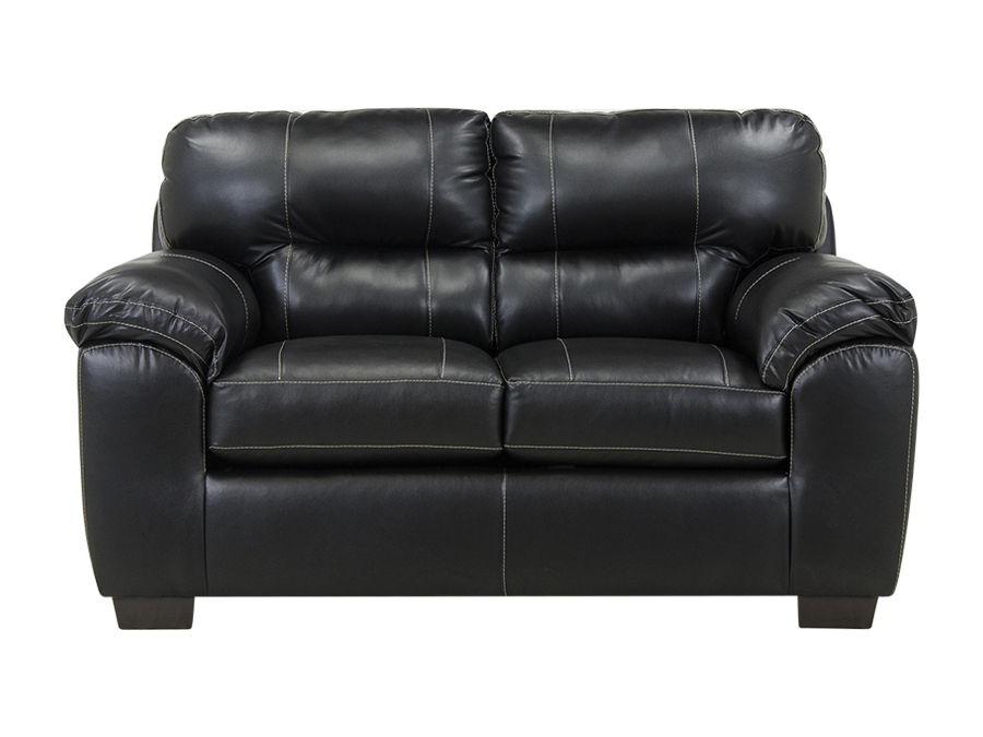 Photos of LINKS×. Austin Black Leather-Look Loveseat. black leather loveseat