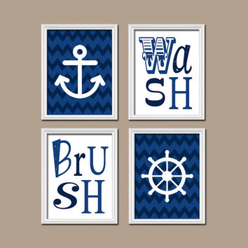 Photos of Nautical Bathroom Wall Art Canvas Artwork Navy Blue Chevron Anchor Wheel anchor bathroom decor