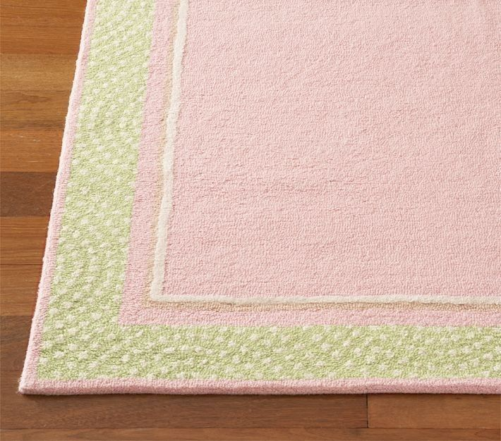 Photos of New 5x8 SALE POLKA DOT BORDER RUG PINK KIDS 100% wool loop pile pink and green rugs for girls room
