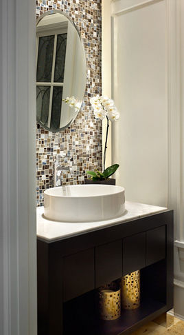 Photos of Tile backsplash behind your mirror in a small bathroom powder room vanities for small spaces
