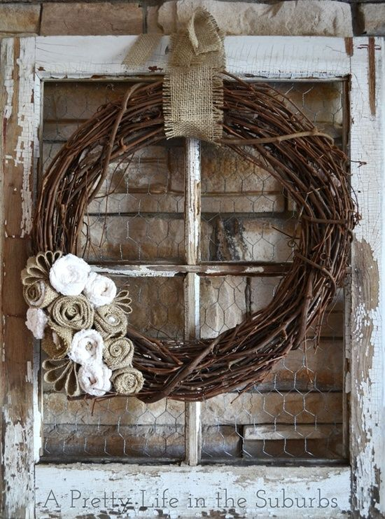 Pictures of 30 Interesitng Ways How To Use Old Windows JUST LOVE THE CHICKEN WIRE rustic window frame wall decor