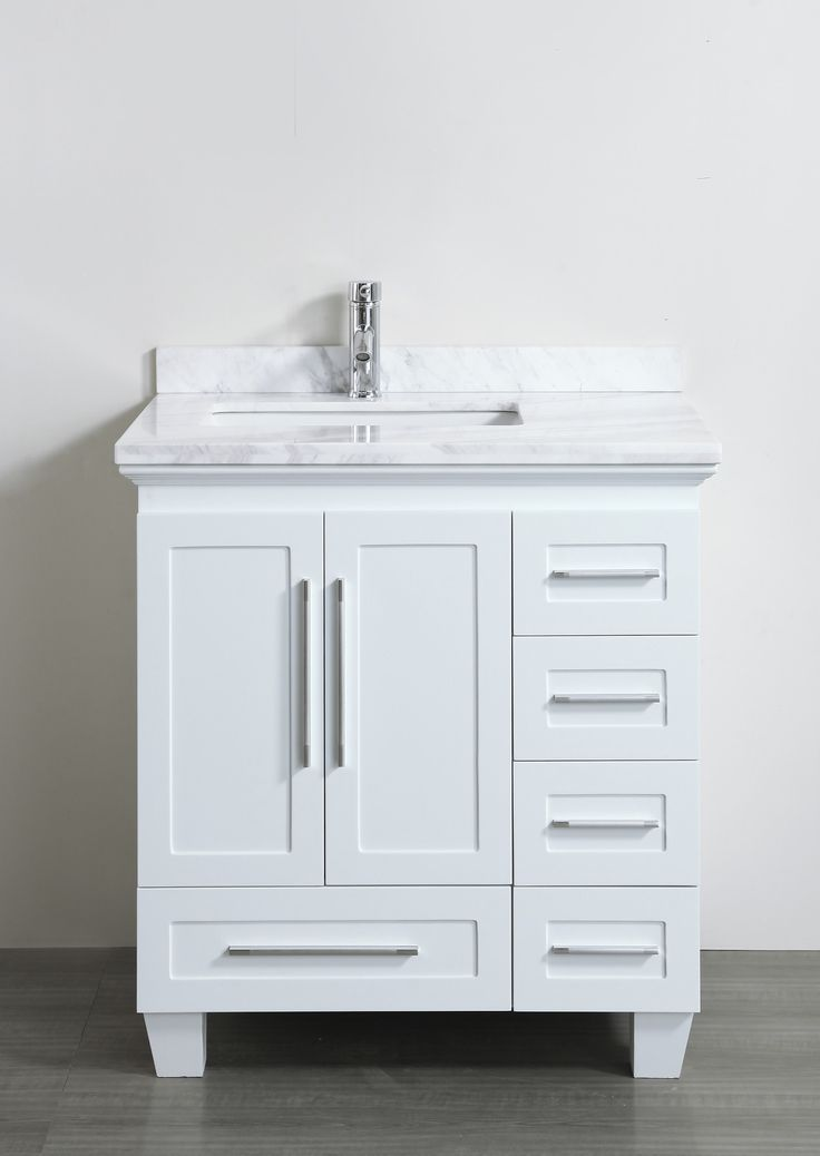 Pictures of Accanto Contemporary 30 inch White Finish Bathroom Vanity Marble Countertop 30 inch white bathroom vanity