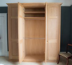 Pictures of Bespoke solid Oak regency styled freestanding wardrobes made to the clients  specification bespoke free standing wardrobes