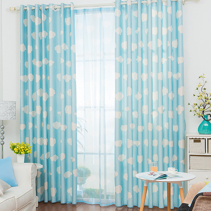 Pictures of Casual Clouds Pattern Blue and white panel curtains baby blue nursery curtains