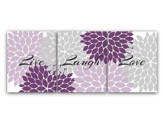 Pictures of Home Decor Wall Art Live Laugh Love Purple Flower Burst Art Bathroom Decor home decor wall art