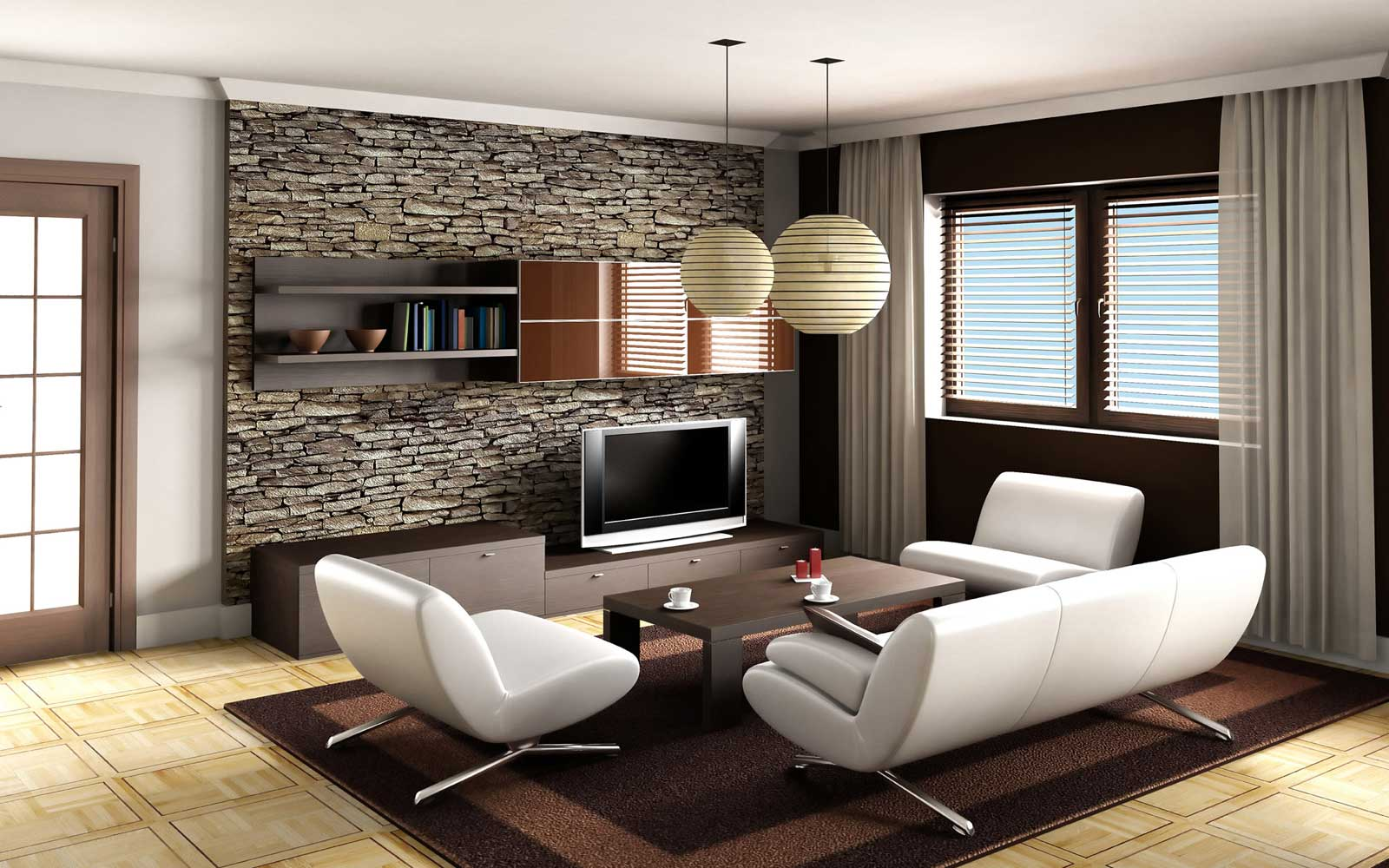 Pictures of Living Room Decor Ideas with Modern Design using White Sofa and Stone Wall modern home decor ideas living rooms