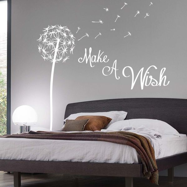Pictures of Make A Wish Dandelion Quote Wall Sticker / Floral / Pretty / bedroom wall decor stickers