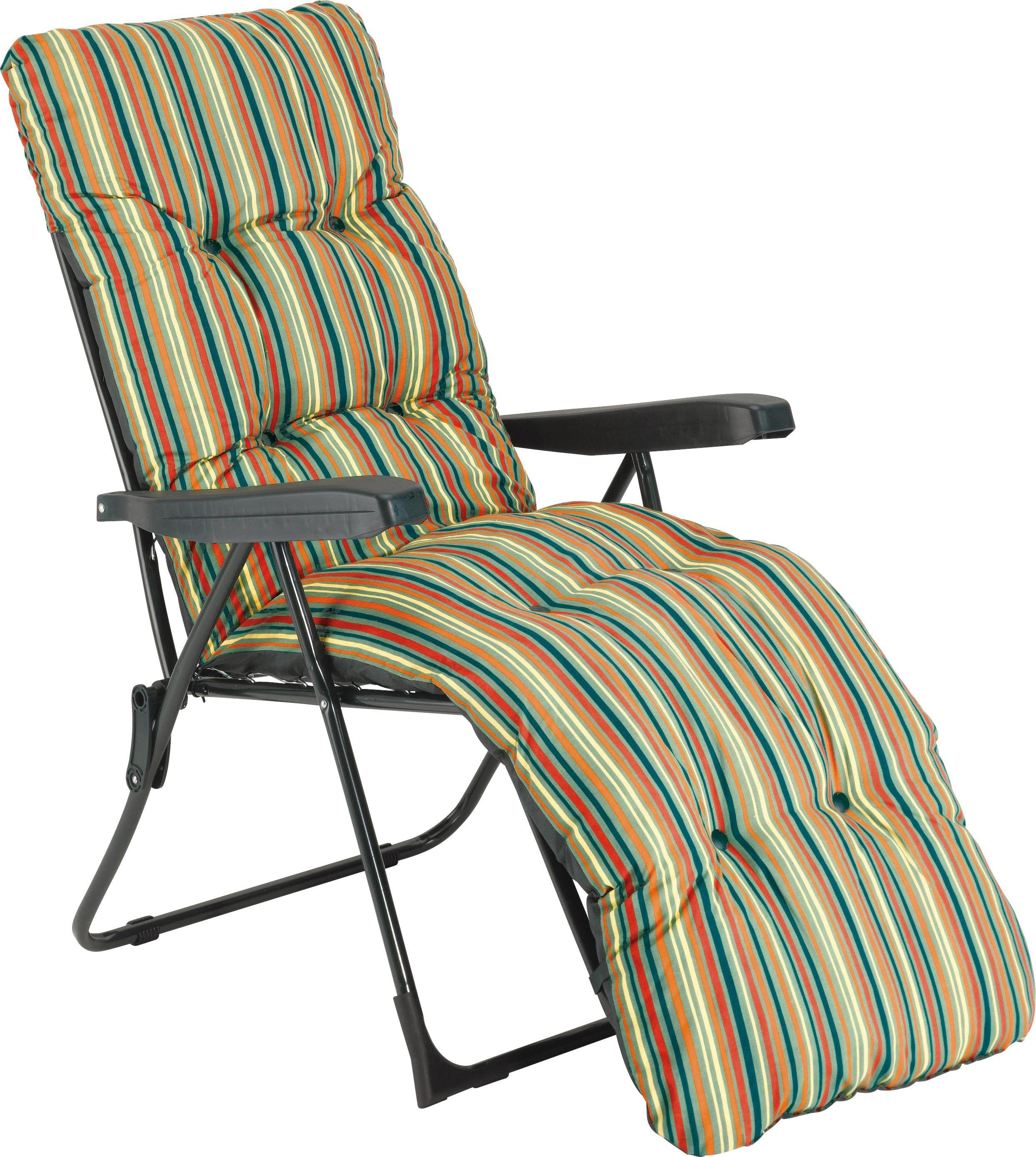 Pictures of ... more details on Striped Foldable Multi-Position Sun Lounger with  Cushion. reclining garden lounger