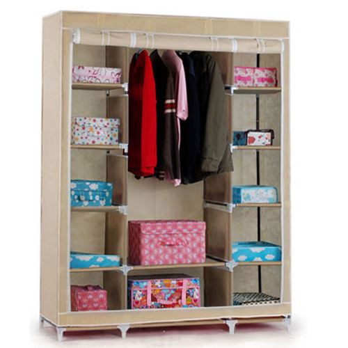 Pictures of Non-woven-Canvas-Fabric-Wardrobe-with-triple-doors- triple canvas wardrobe