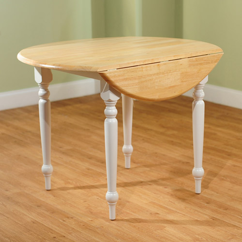 Pictures of Round Drop-Leaf Dining Table, White/Natural round kitchen table