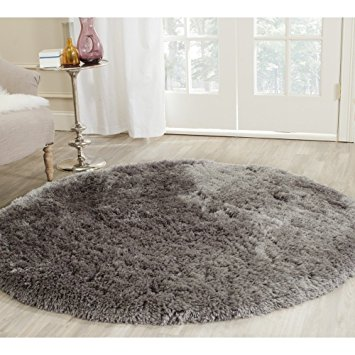 Pictures of Safavieh Arctic Shag Collection SG270G Handmade Grey Polyester Round Area  Rug (5u0027 round shag rug